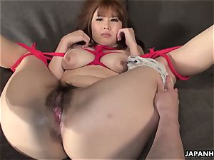 buxom japanese dame roped up and played