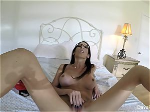 huge-chested brown-haired Dava's home movie getting off