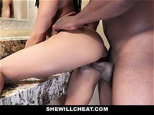 SheWillCheat - cheating wife pokes big black cock in bathroom