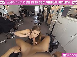 VRBangers.com Hairdresser Ella plumbed rigid and facial cumshot