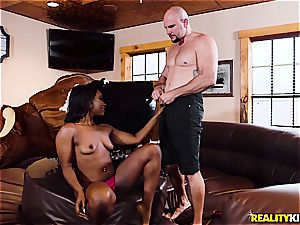 puny breasted ebony cowgirl rails a milky monster meatpipe