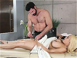 Married blondie beauty getting ultra-kinky by a muscled massagist