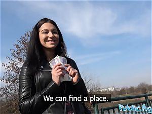 Public Agent Russian waitress romped outside in public