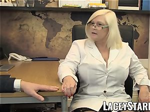 LACEYSTARR - GILF gobbles Pascal white jizz after bang-out