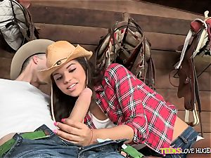 Cowgirl Gabriella Ford jammed by a ample fuck-stick
