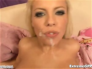 trampy platinum-blonde with bouncy knockers gets a dual foray
