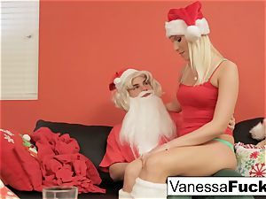 Vanessa letting Santa drill her taut moist beaver
