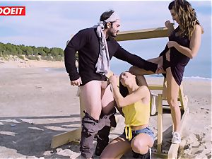 LETSDOEIT - superstars boink a fortunate man at the Beach