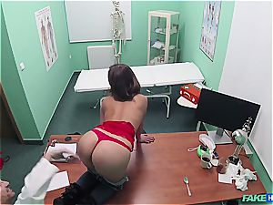 fake polyclinic sexy backside patient with shaved beaver