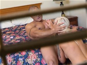 super-naughty Nina Elle penetrates her fellow at the hotel