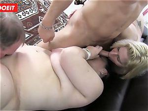 German 4some hookup with mischievous plumper grandmothers