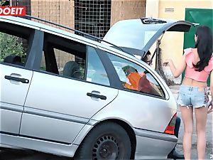 LETSDOEIT - teenager plows older boy For Free Car Repair