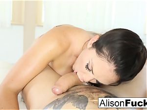 Alison Tyler gives a jaw-dropping deepthroat job with funbag plumbing