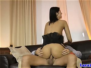 erotic cougar munches jizz of bum-fucked eurobabe