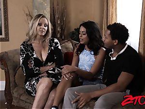 mummy Julia Ann shares phat big black cock with Latina babe