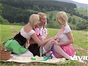 Vivid.com - light-haired farm sisters all girl three-way