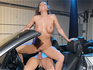 Abigail Mac spitting on a enormous fuck-stick