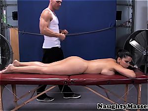 buxom gal given a massage while nude before providing head