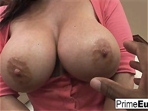 humungous boob dark haired Sophie Dee has multiracial fun