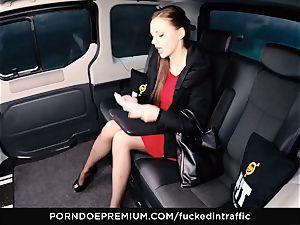 porked IN TRAFFIC Tina Kay footjob in the backseat
