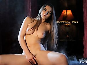 Smoking torrid solo sequence with black-haired honey Dani Daniels