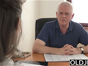 lady nailed by elder dude Office suck deep throat