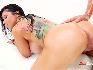 ultra-kinky spunky brazilian pornography starlet Romi Rain gets her phat greased knockers titfucked