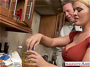 Krissy in the kitchen deepthroat and fucks until his manmeat pours out