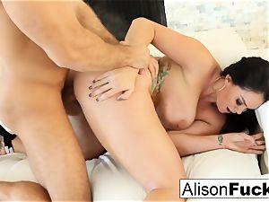 Alison takes on a humungous cock
