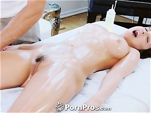 PornPros huge-chested Dillion Harper massage drill and facial cumshot