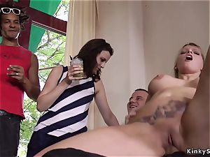 2 blondes pissed outdoor by mistress