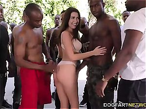 Melissa Moore inhales a few ebony peckers at once