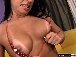 Monica Santhiago gets a meaty geyser in her anxious slit