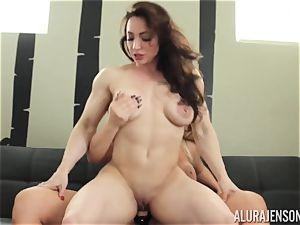 Alura Jenson puss packed with strapon heavy bulky lady Brandi May
