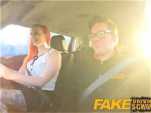fake Driving school spectacular ginger-haired lusts after gigantic meatpipe