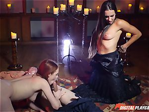 cum gulping 3 way with gorgeous Ella Hughes and fabulous honey Mea Melone
