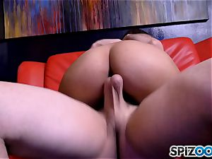 pole dancing Sophia Leone gasping on a fat pole man meat