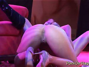 mischievous lezzy sex flash on public stage