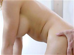 Soapy huge-boobed blonde Kagney Linn Karter gets boinked in the shower apartment