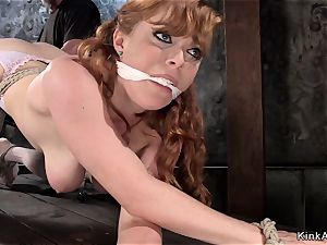 busty red-haired ass fucking fisted in basement