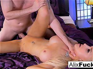 Alix Lynx masturbates Brad's schlong with her muff and throat