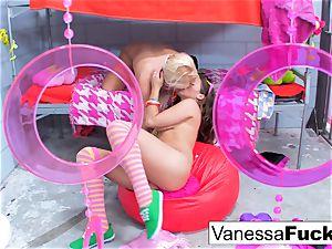 huge-boobed Natasha adorable penetrates Vanessa box